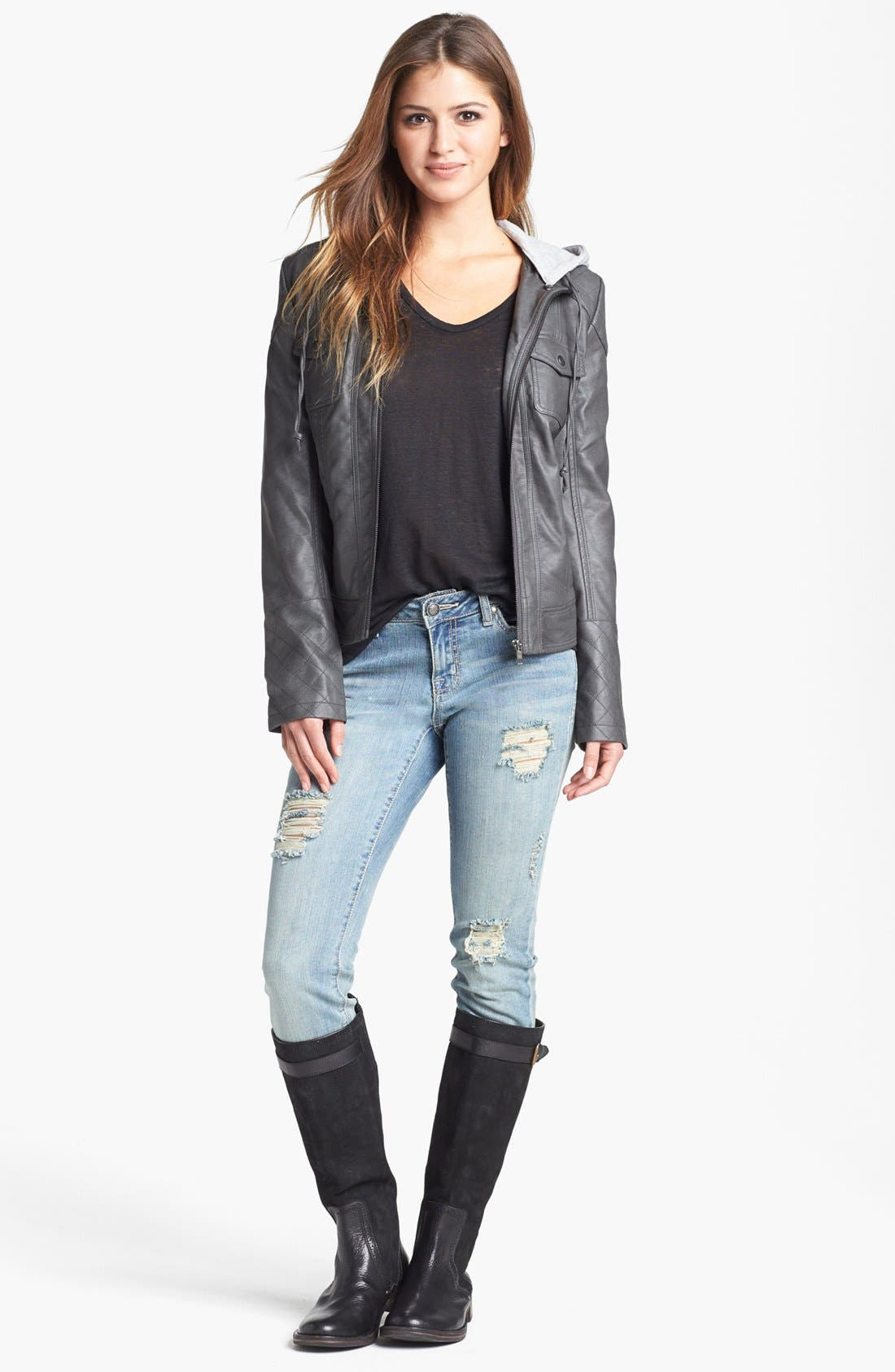 Main Image - Jessica Simpson 'Heathcliff' Hooded Faux Leather Jacket