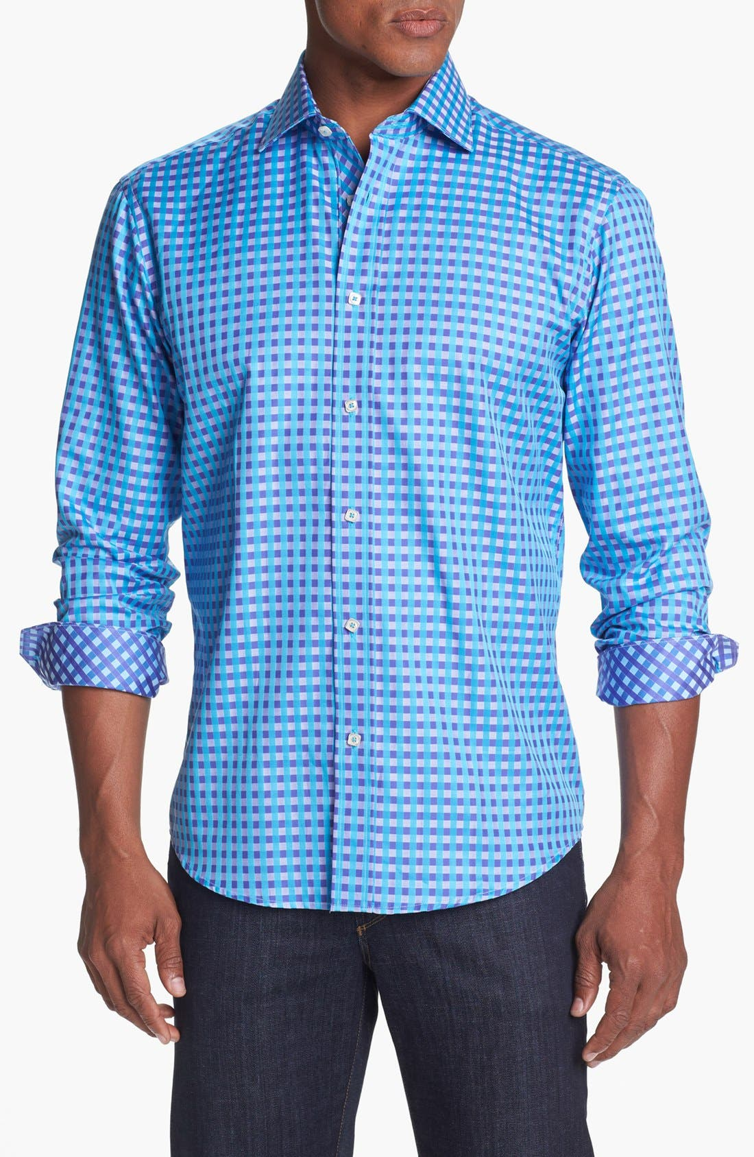 Main Image - Bugatchi Gingham Shaped Fit Cotton Sport Shirt (Tall)