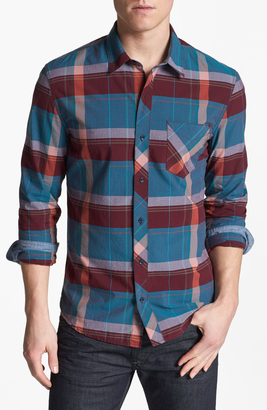 Alternate Image 1 Selected - 1901 Trim Fit Plaid Poplin Shirt