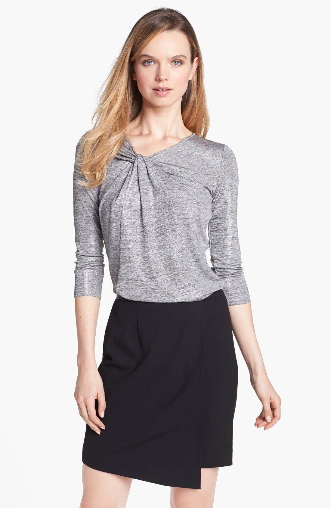 Alternate Image 1 Selected - Vince Camuto Twist Neck Top (Petite) (Online Exclusive)