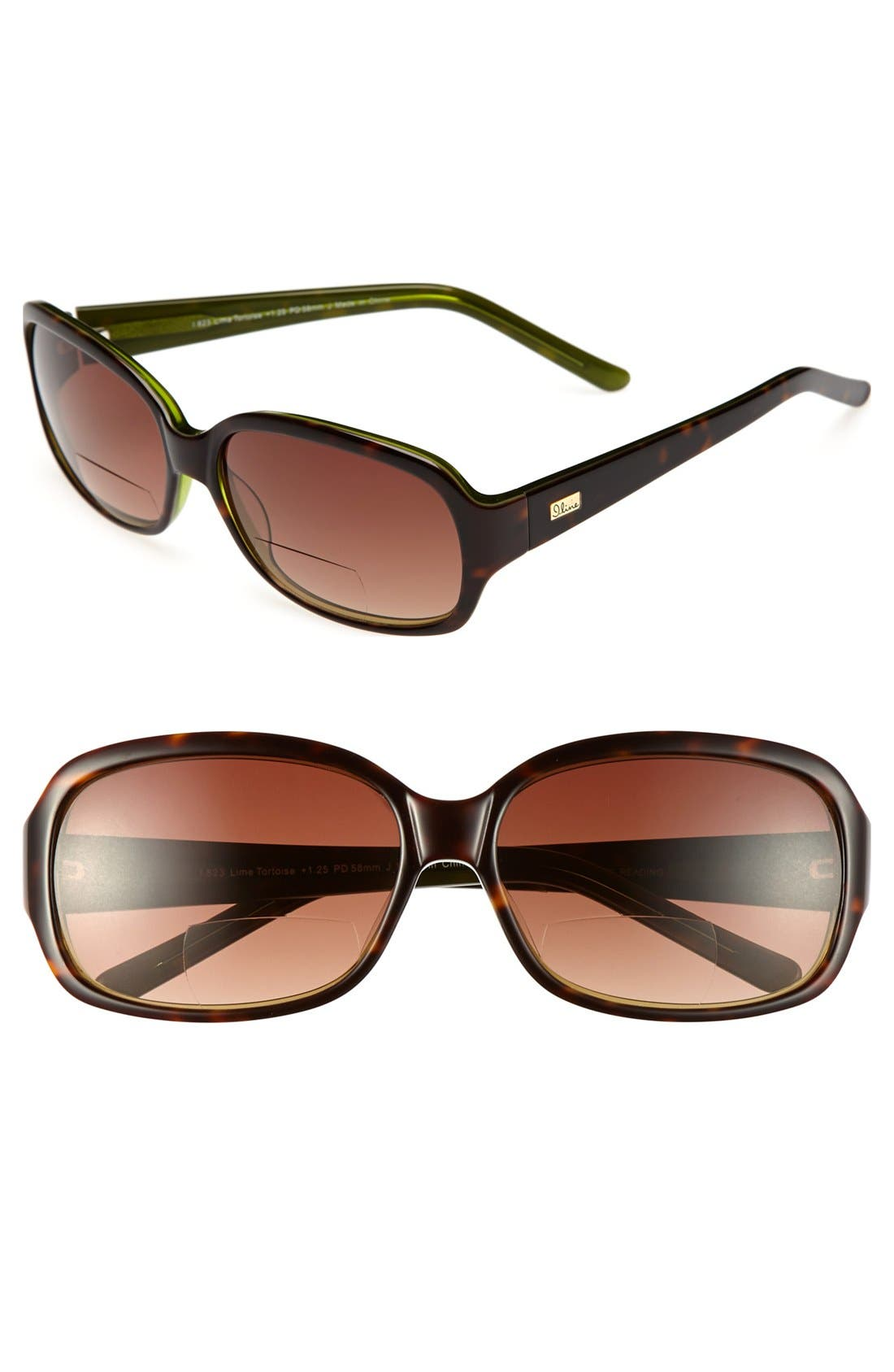 Alternate Image 1 Selected - I Line Eyewear 'Lime Tortoise' 58mm Reading Sunglasses