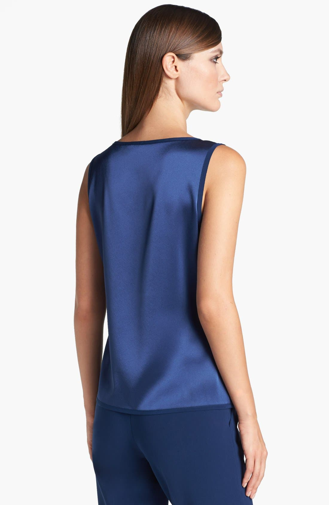 Alternate Image 2  - St. John Collection Scoop Neck Pleated Liquid Satin Shell