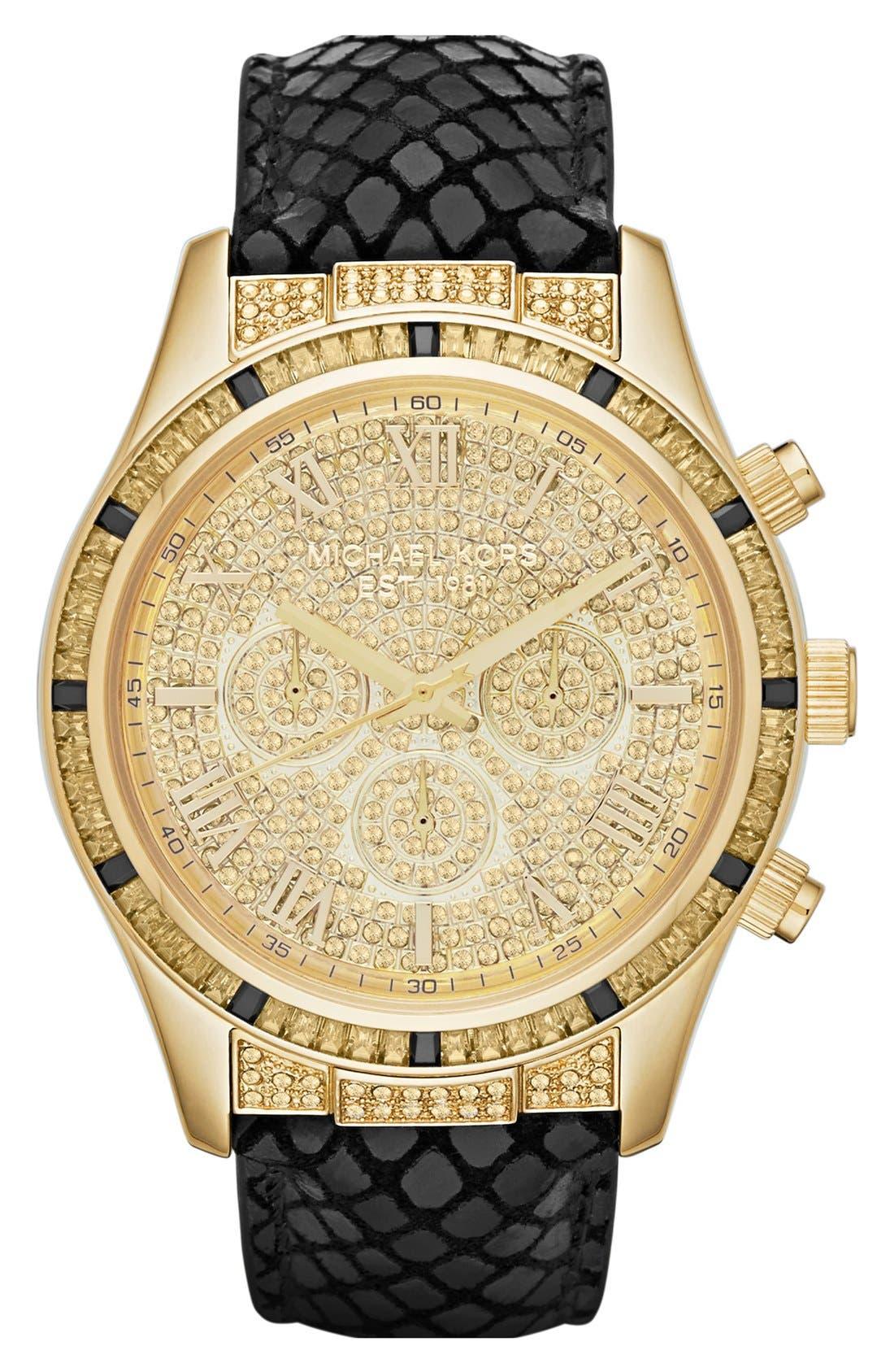 Main Image - Michael Kors 'Layton' Pavé Dial Chronograph Watch, 44mm