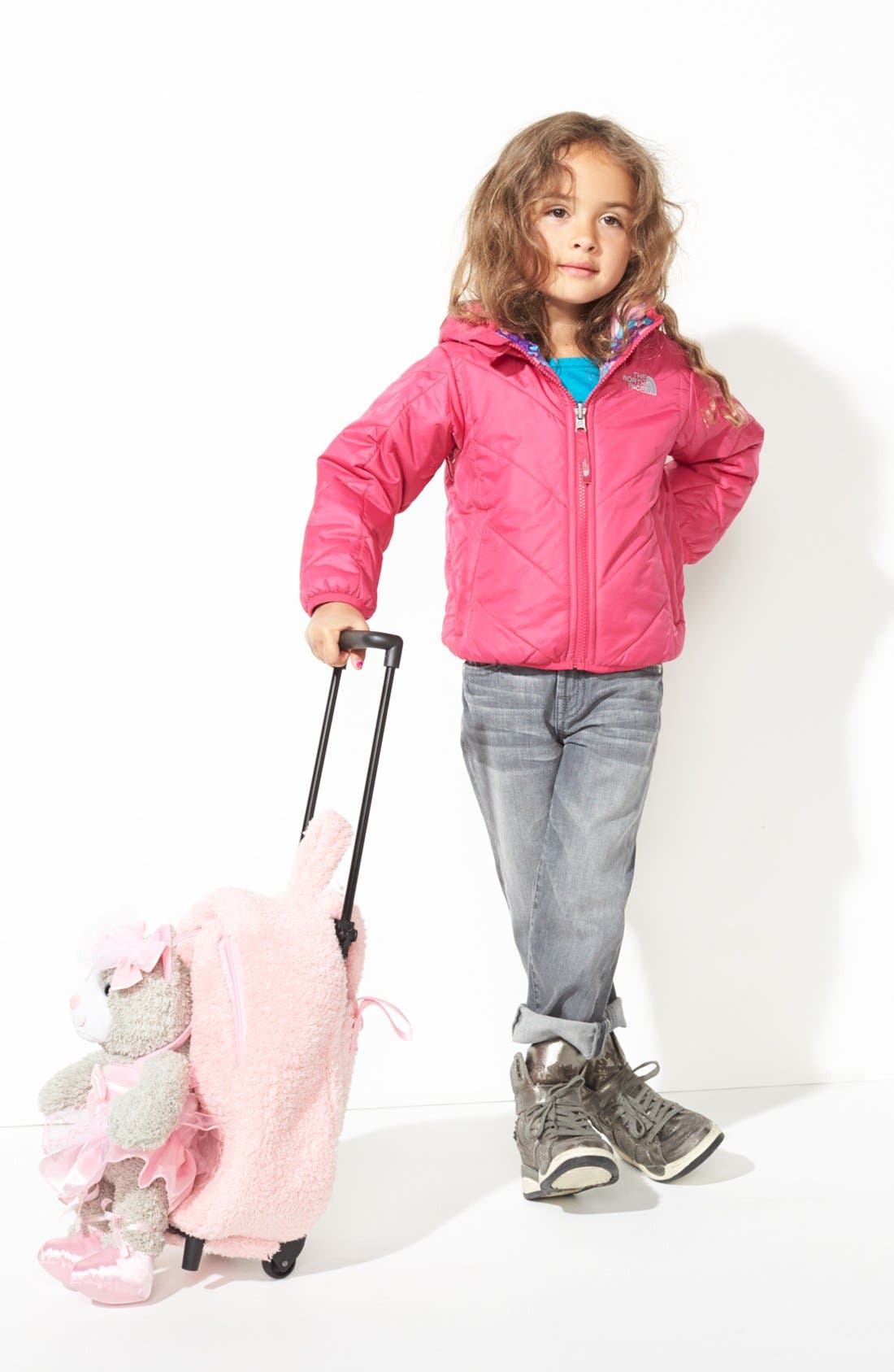 Main Image - The North Face Reversible Puffer Jacket, Tucker + Tate Intarsia Sweater, Joe's Denim Jeggings & Popatu Rolling Backpack (Toddler Girls)