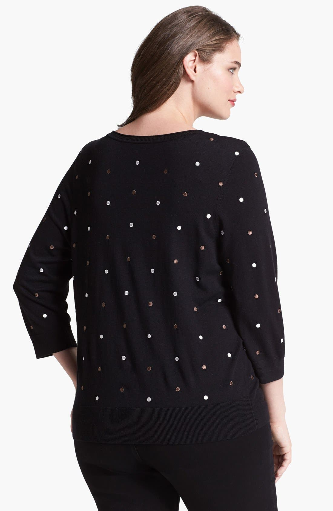 Alternate Image 2  - Sejour Embroidered Dot Cardigan (Plus Size)