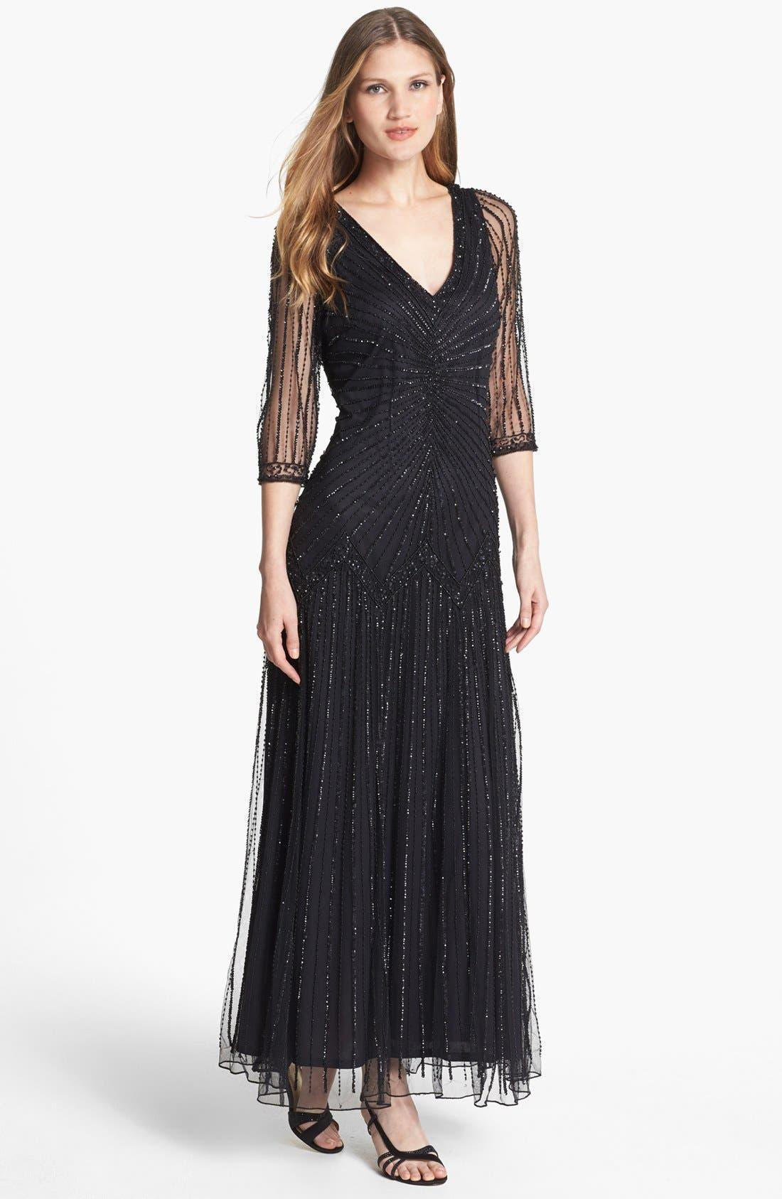 Main Image - Pisarro Nights Embellished Illusion Sleeve Mesh Gown