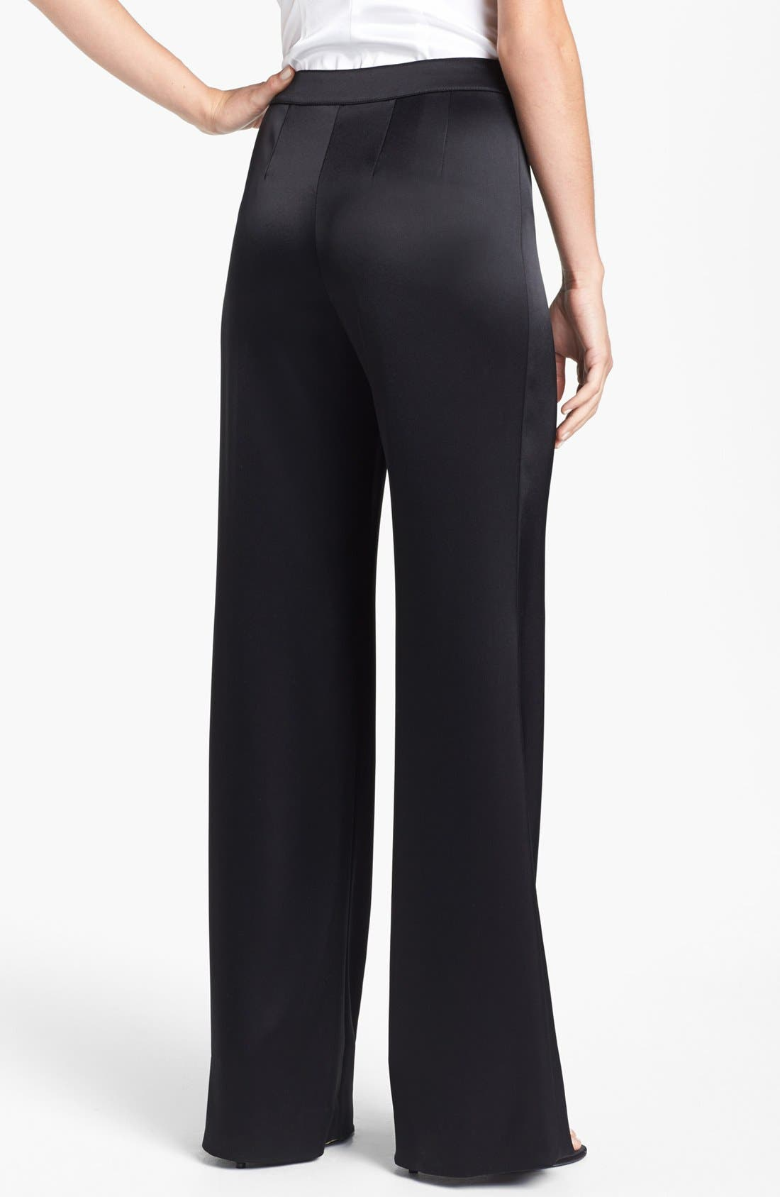 Alternate Image 3  - St. John Collection 'Diana' Wide Leg Liquid Satin Pants