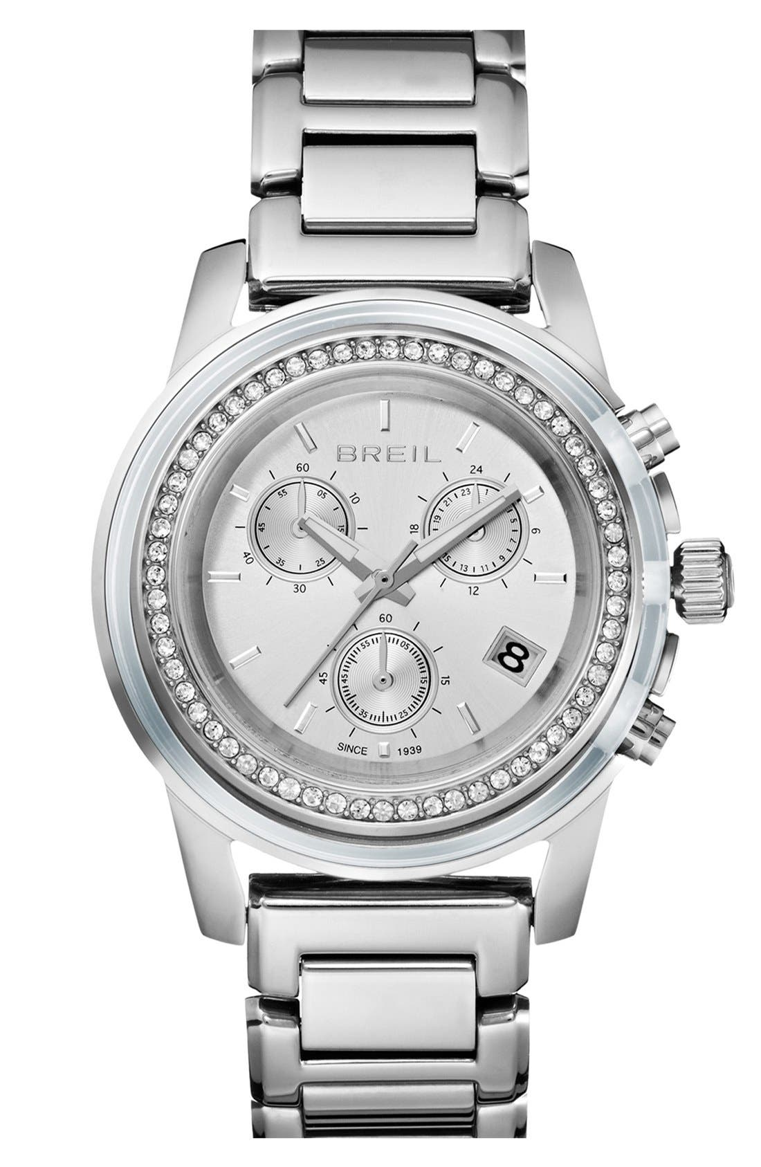 Alternate Image 1 Selected - Breil 'Orchestra' Crystal Bezel Chronograph Bracelet Watch, 37mm