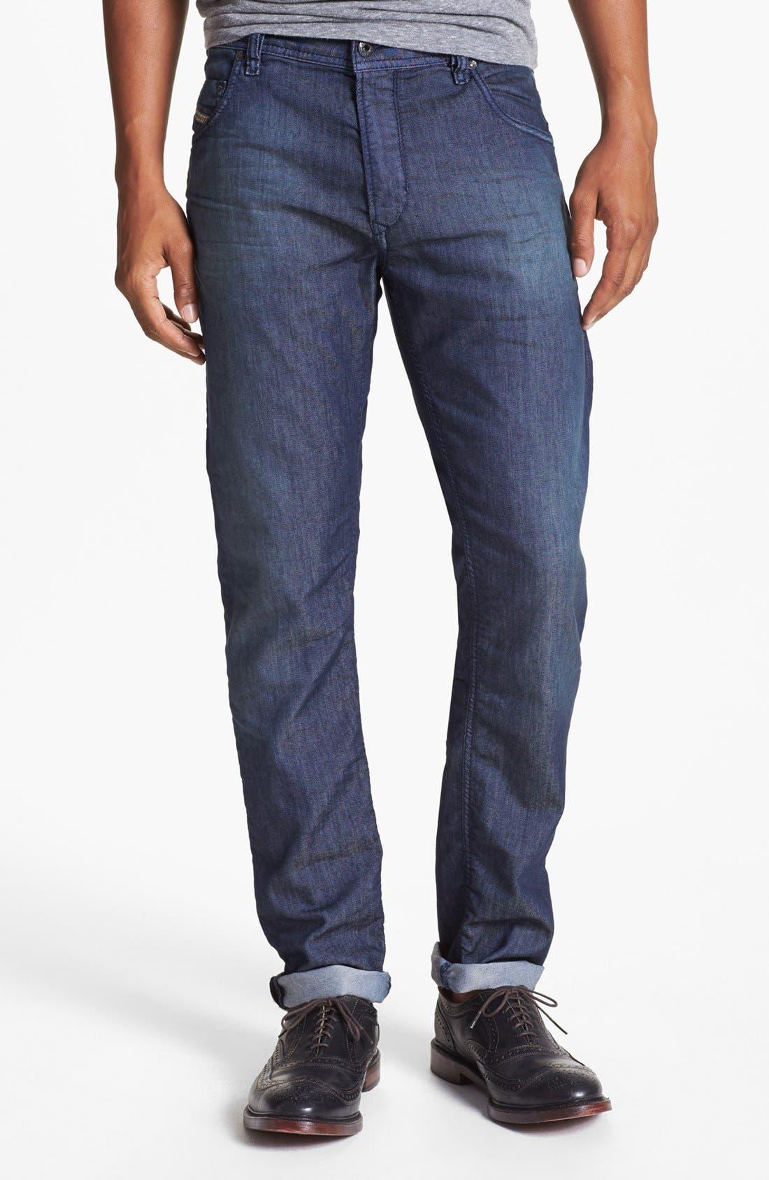 Alternate Image 2  - DIESEL® 'Krayver' Slim Fit Selvedge Jeans (Blue)