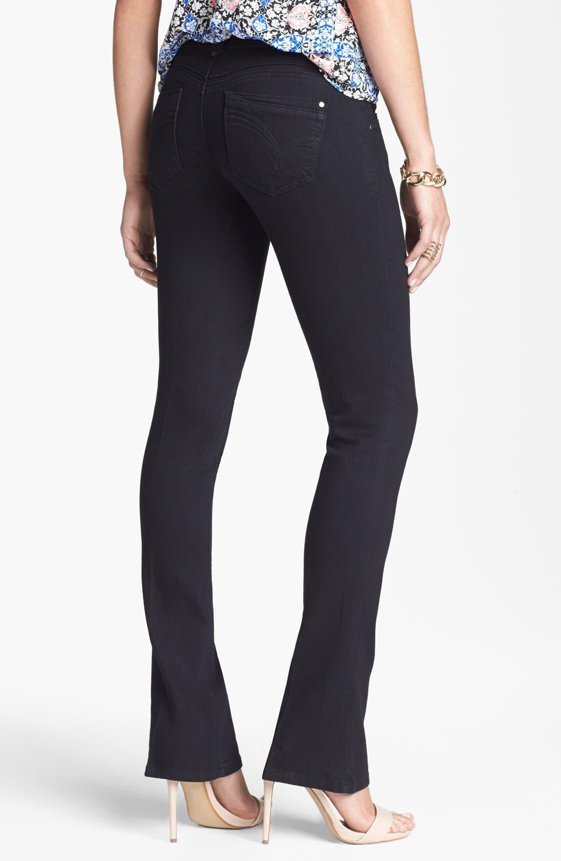 Alternate Image 2  - Jolt Stretch Bootcut Jeans (Black) (Juniors) (Online Only)
