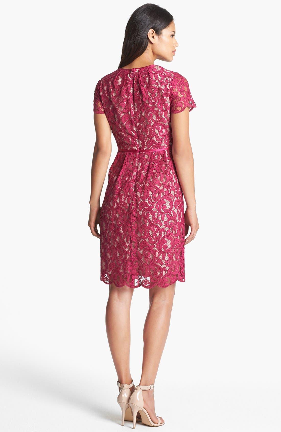 Alternate Image 2  - Adrianna Papell Scalloped Lace Dress (Regular & Petite)