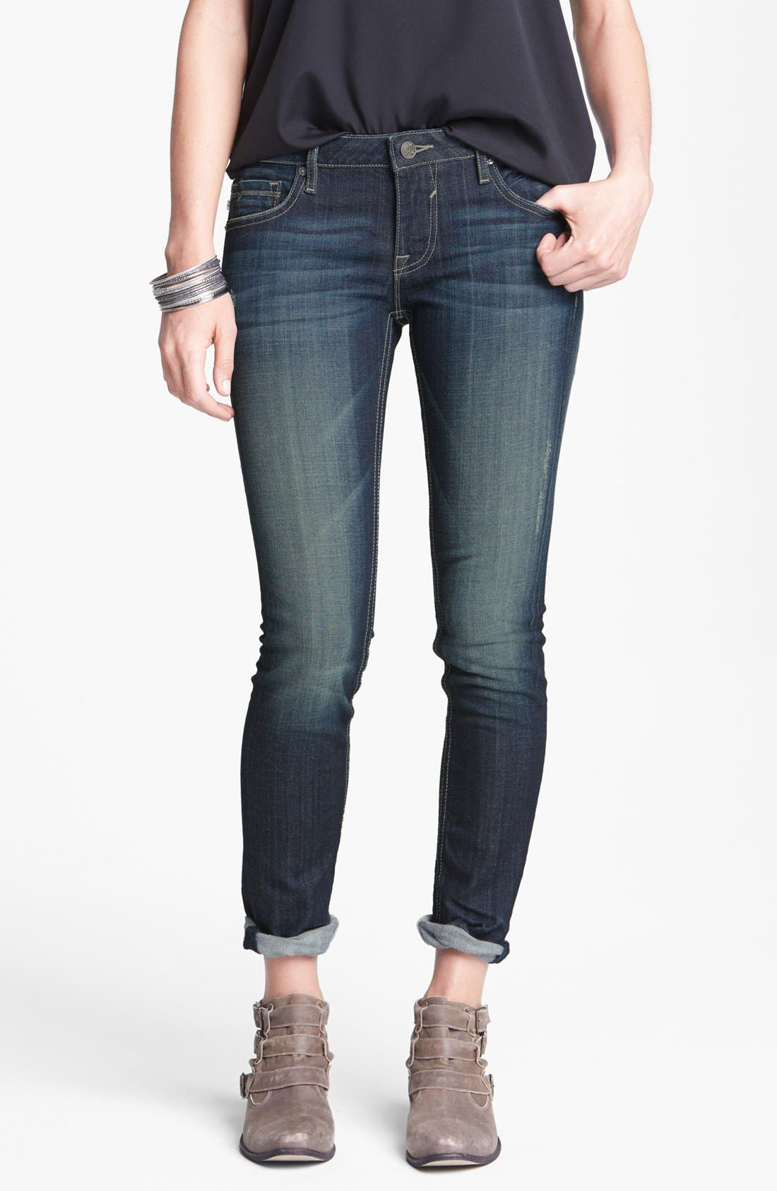 Main Image - Vigoss 'Thompson Tomboy' Crop Skinny Boyfriend Jeans (Dark) (Juniors)