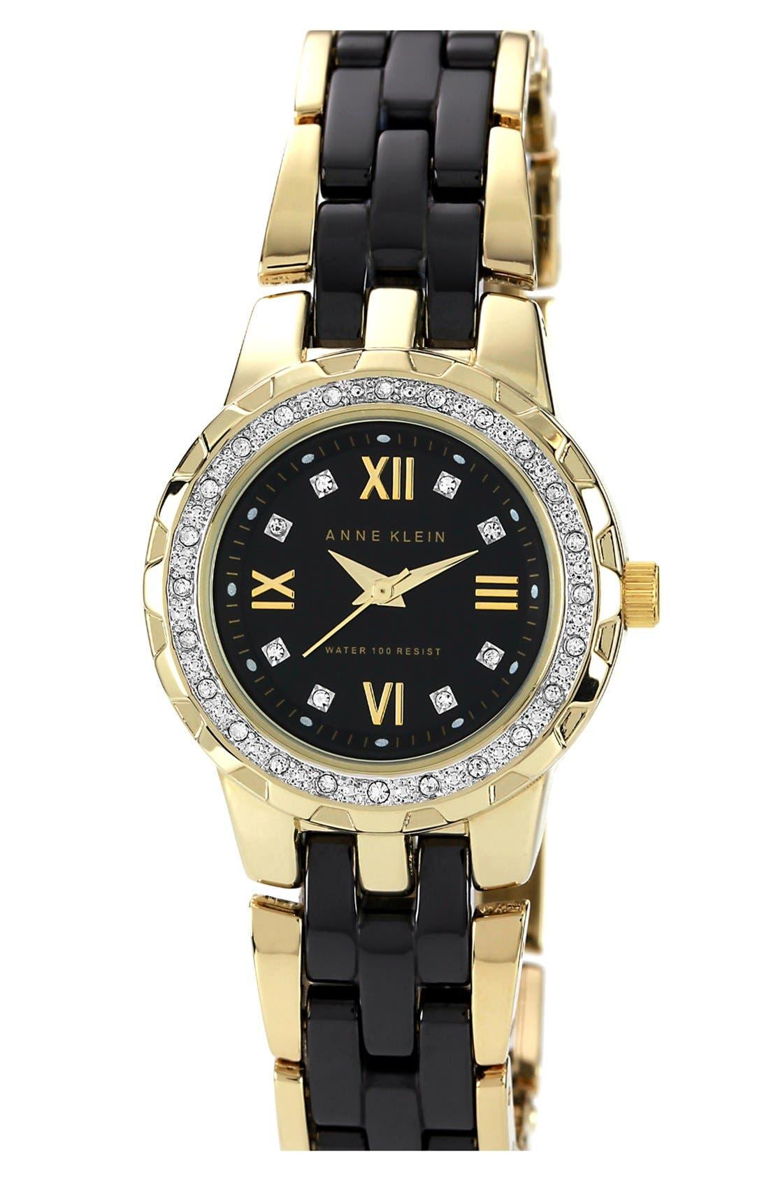 Alternate Image 1 Selected - Anne Klein Crystal Bezel Ceramic Bracelet Watch, 29mm