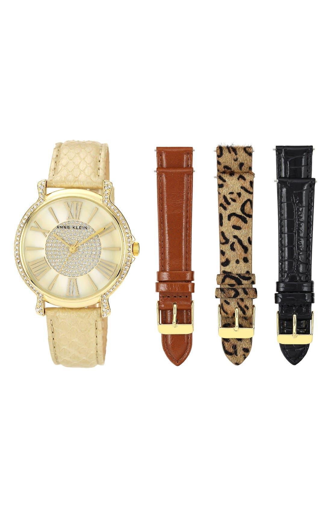 Main Image - Anne Klein Round Watch & Leather Strap Boxed Set