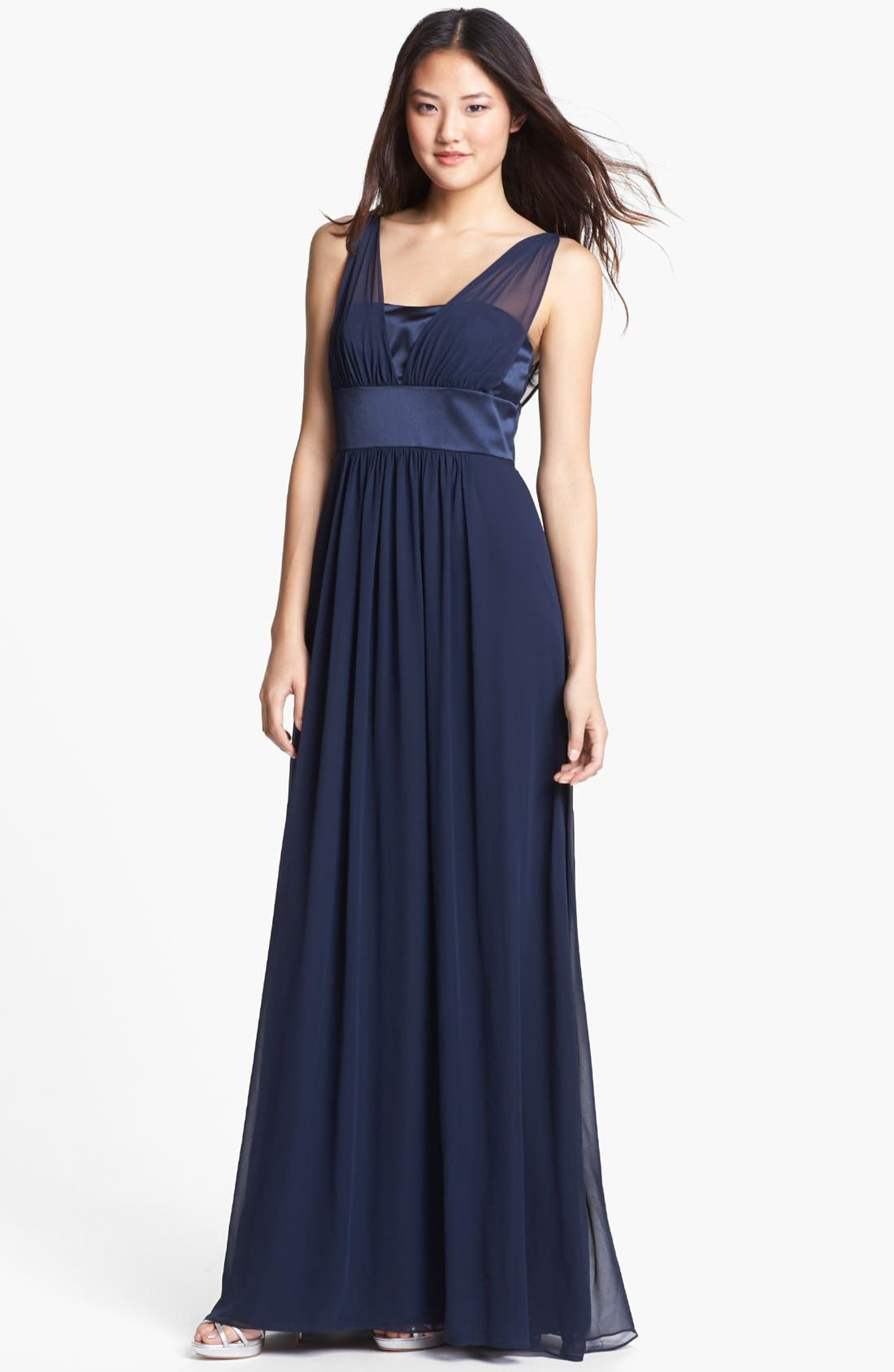 Alternate Image 1 Selected - Dessy Collection Satin & Chiffon Dress