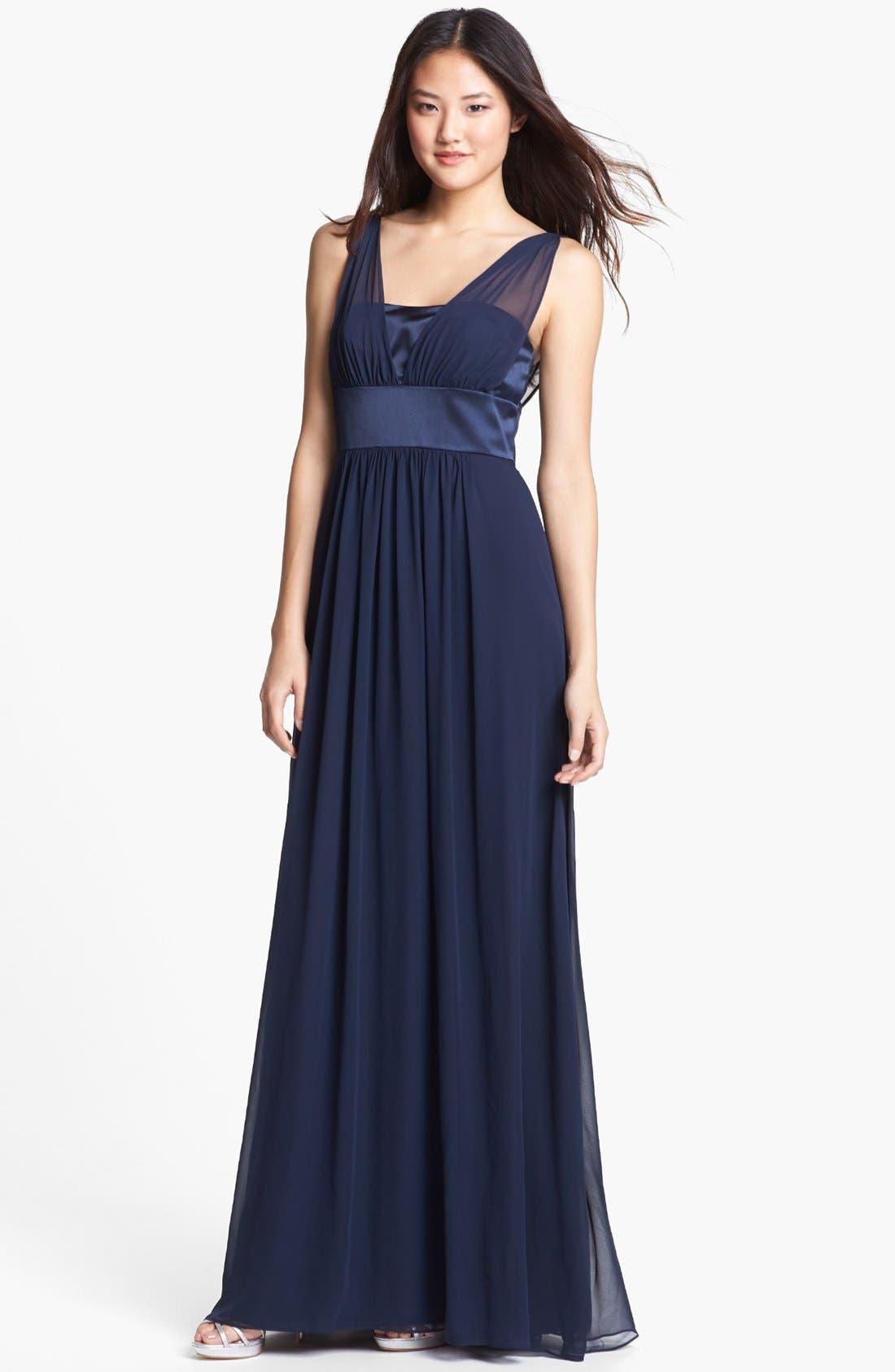 Main Image - Dessy Collection Satin & Chiffon Dress
