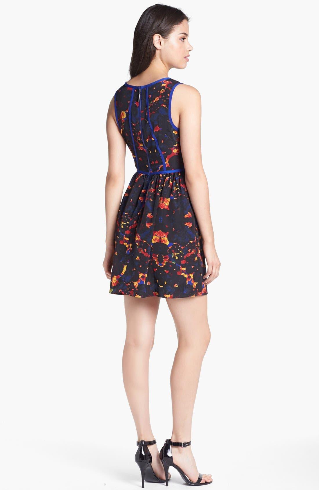 Alternate Image 2  - kensie Contrast Trim Floral Fit & Flare Dress