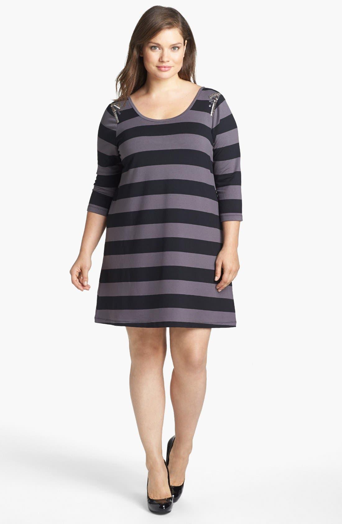 Main Image - Jessica Simpson 'Joey' Embellished Stripe Knit Dress (Plus Size)