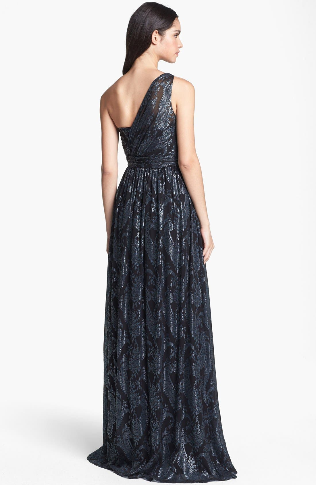 Alternate Image 2  - ERIN erin fetherston 'Catalina' Metallic One-Shoulder Gown
