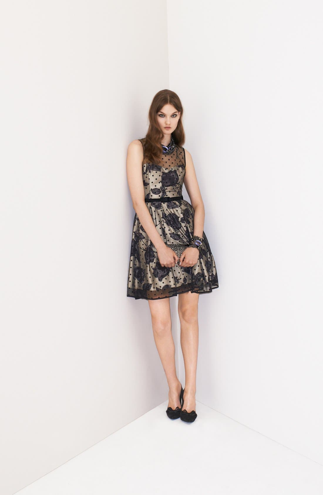 Alternate Image 5  - Eliza J Illusion Dot Print Fit & Flare Dress
