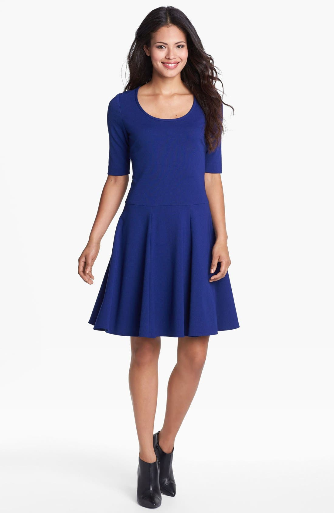 Main Image - Eliza J Seamed Skater Dress (Petite)