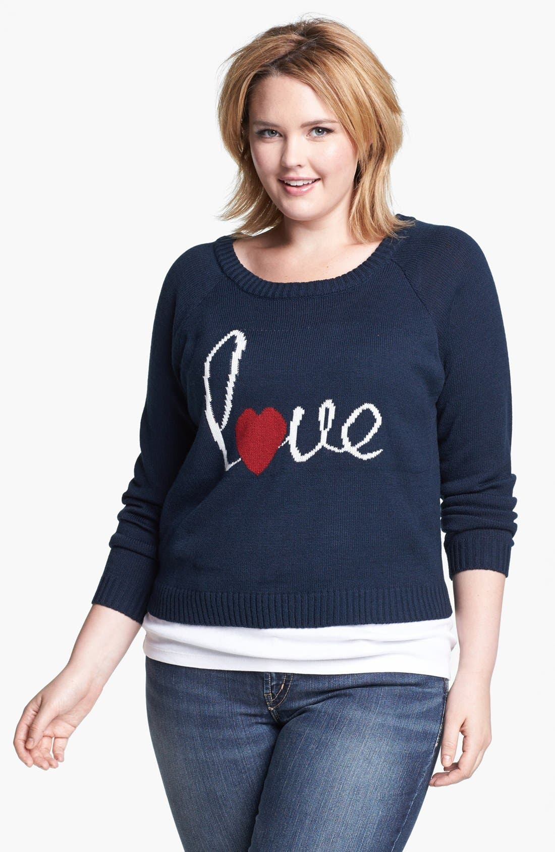 Alternate Image 1 Selected - Love By Design 'Love' Raglan Sleeve Sweater (Juniors Plus)