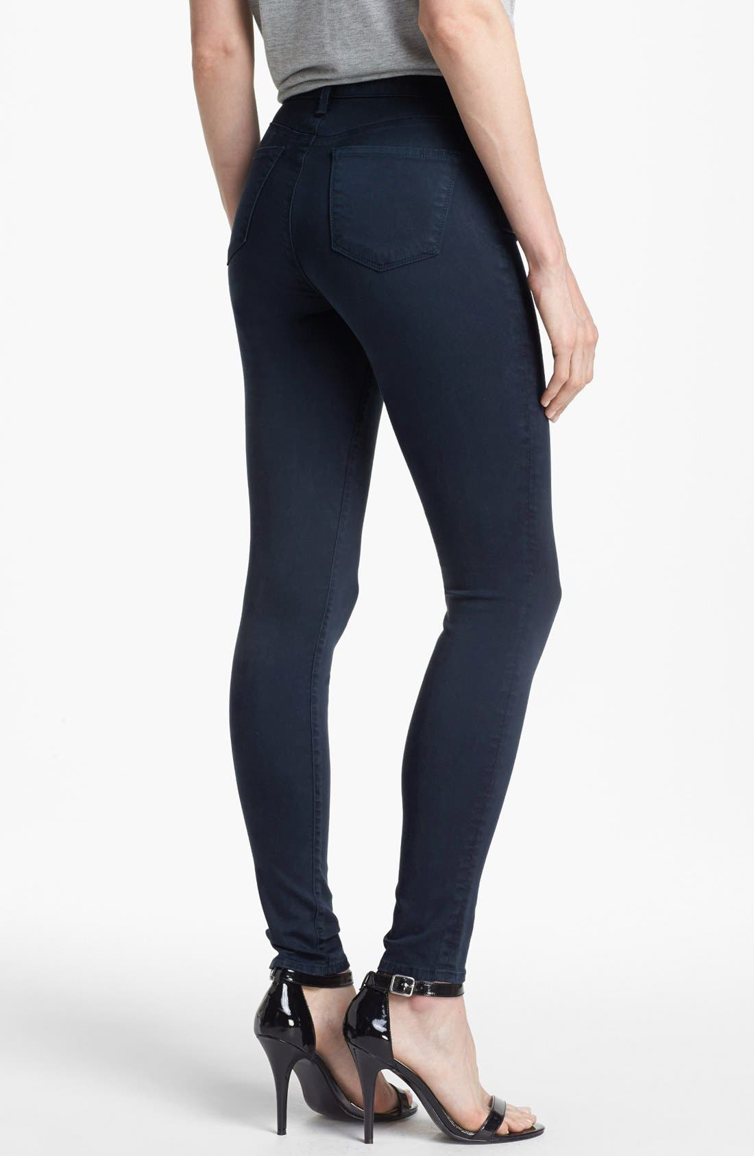 Alternate Image 2  - J Brand '485' Mid Rise Super Skinny Jeans (Carbon Blue)