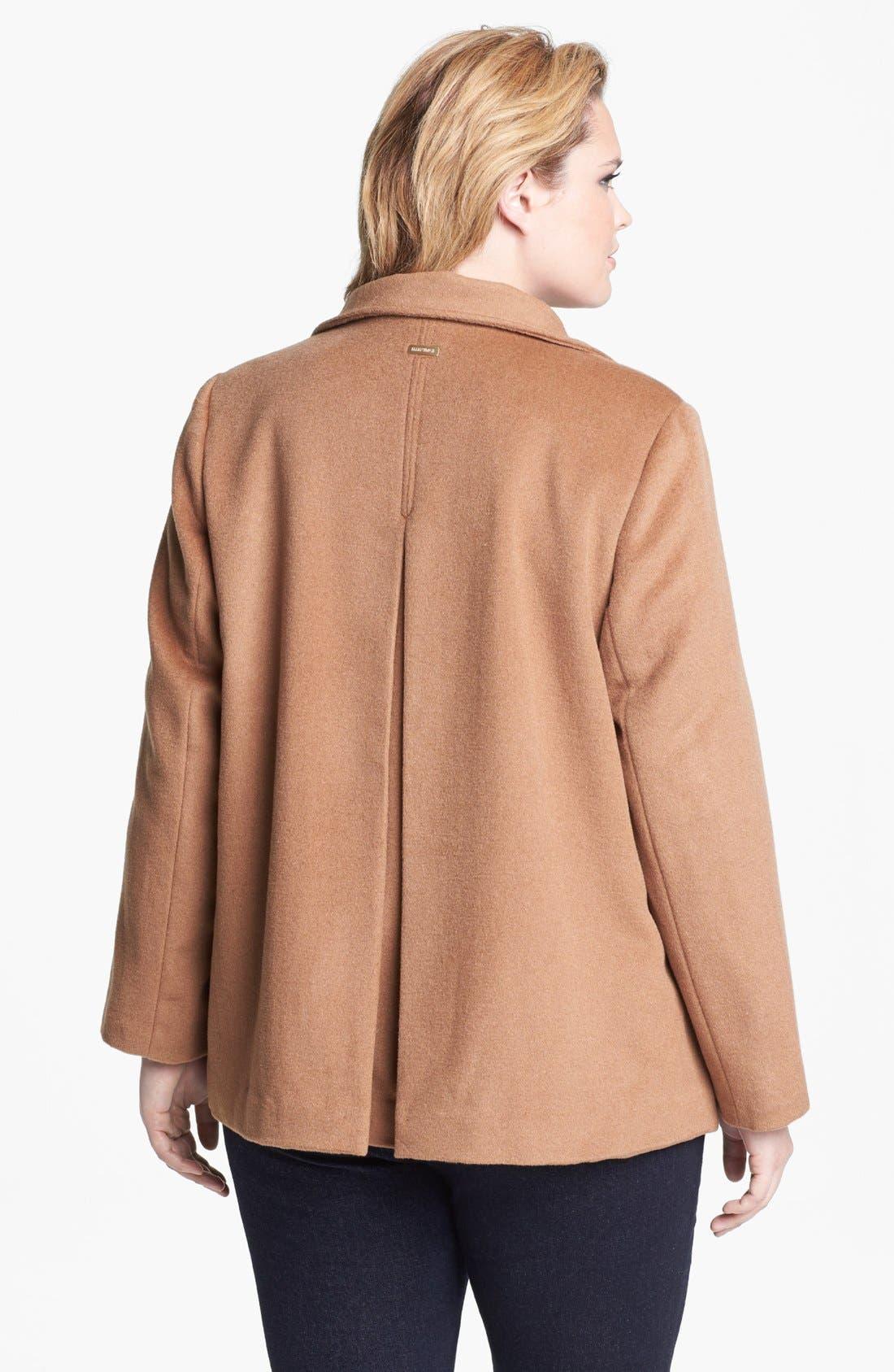 Alternate Image 2  - Ellen Tracy Wing Collar A-Line Wool Blend Coat (Plus Size)