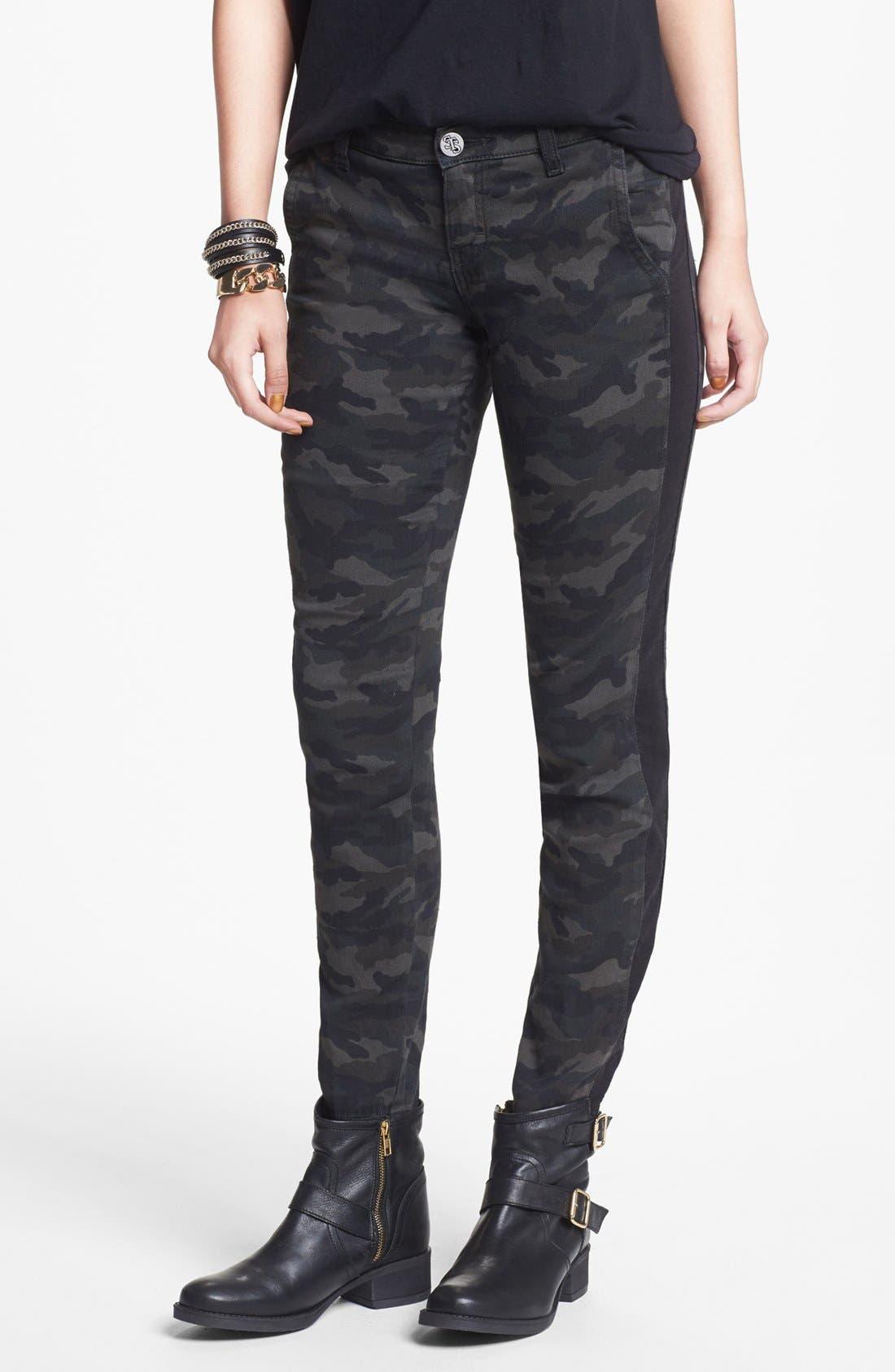 Alternate Image 1 Selected - STS Blue Tuxedo Stripe Camo Print Pants (Juniors)