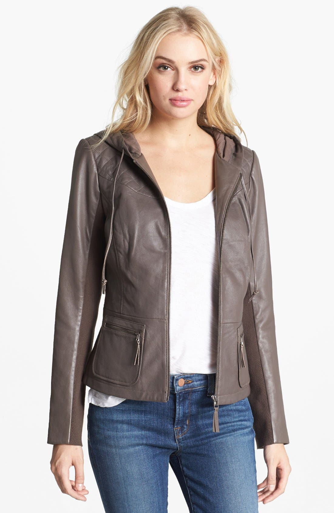 Alternate Image 1 Selected - Hinge® Hooded Leather Jacket