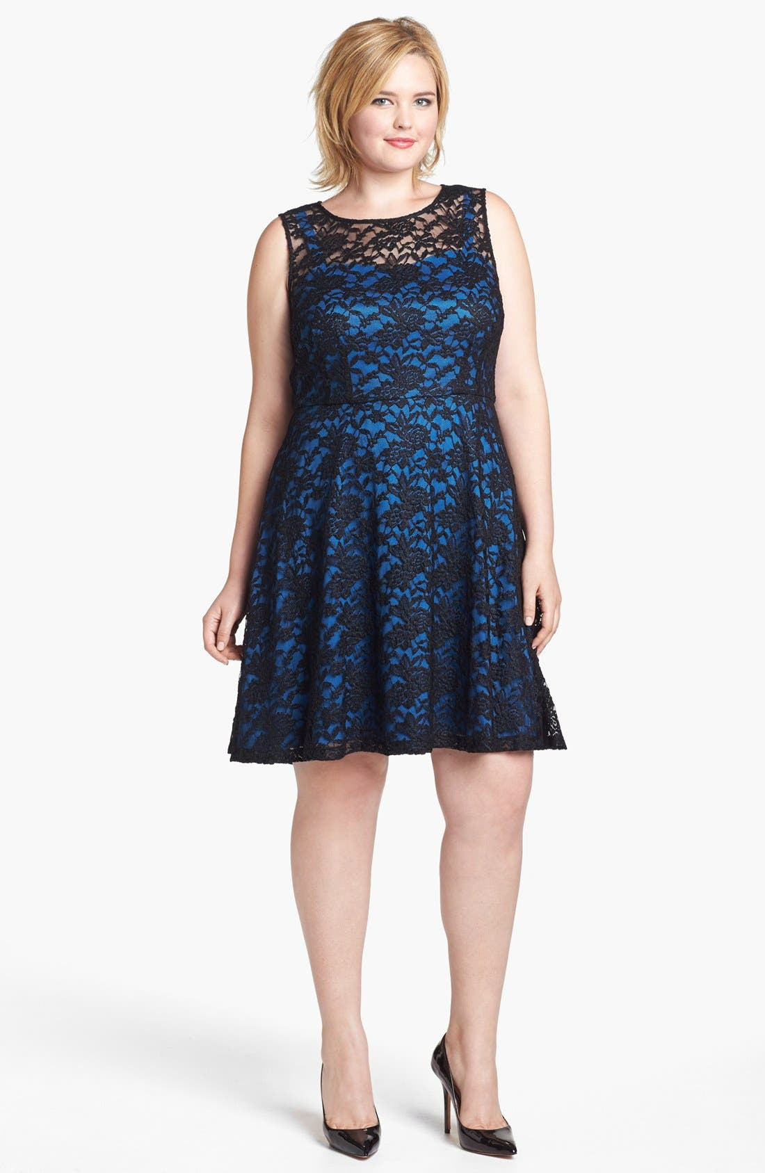 Alternate Image 1 Selected - Ivy & Blu Lace Fit & Flare Dress (Plus Size)