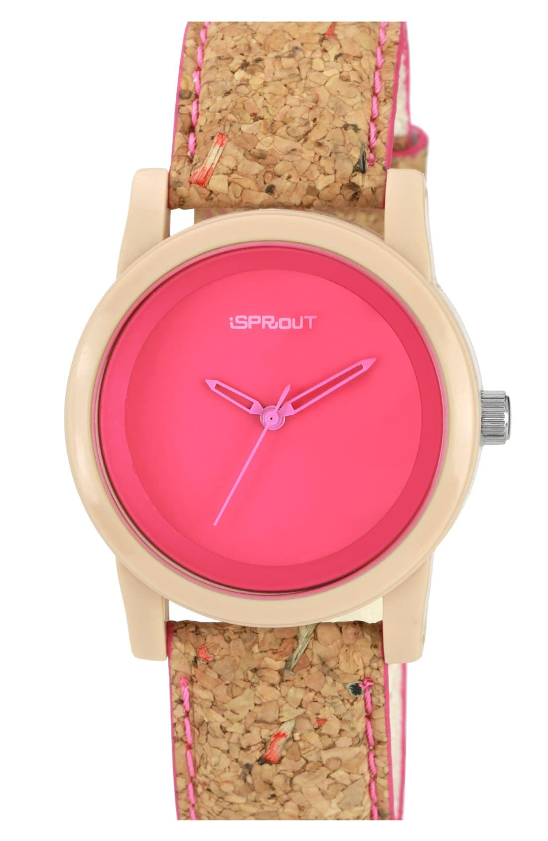 Alternate Image 1 Selected - SPROUT™ Watches Color Dial Cork Strap Watch, 38mm