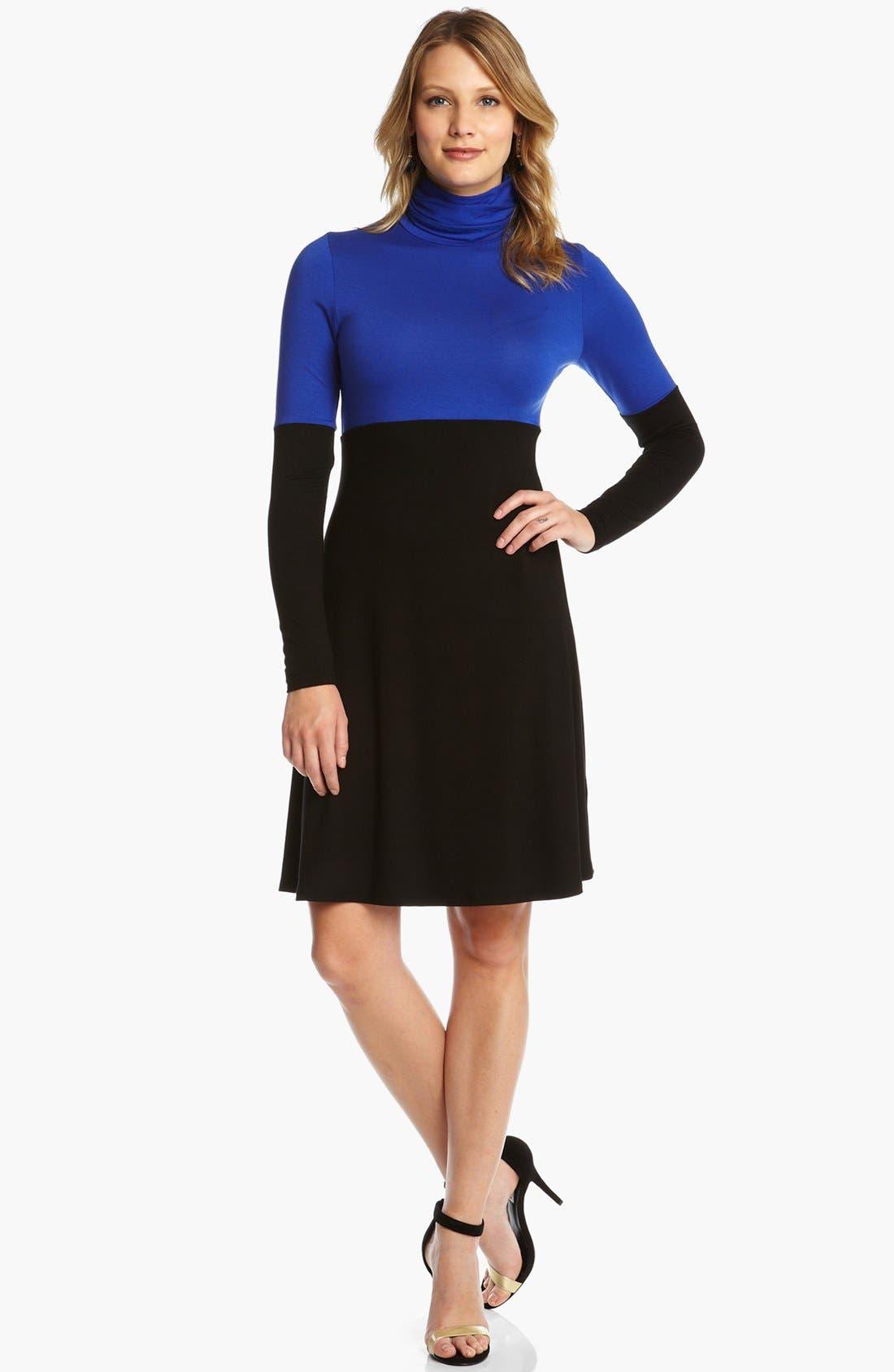 Main Image - Karen Kane Colorblock Turtleneck Dress