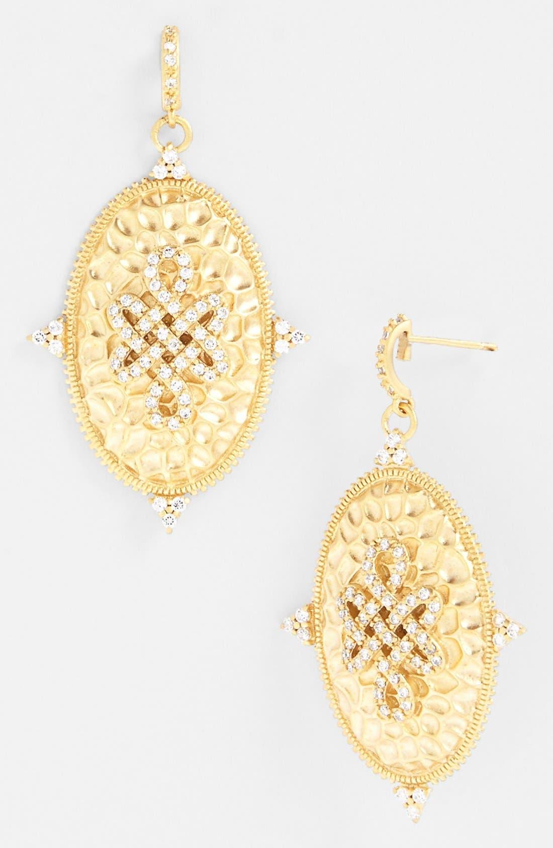 Alternate Image 1 Selected - FREIDA ROTHMAN 'Gramercy' Love Knot Oval Shield Earrings