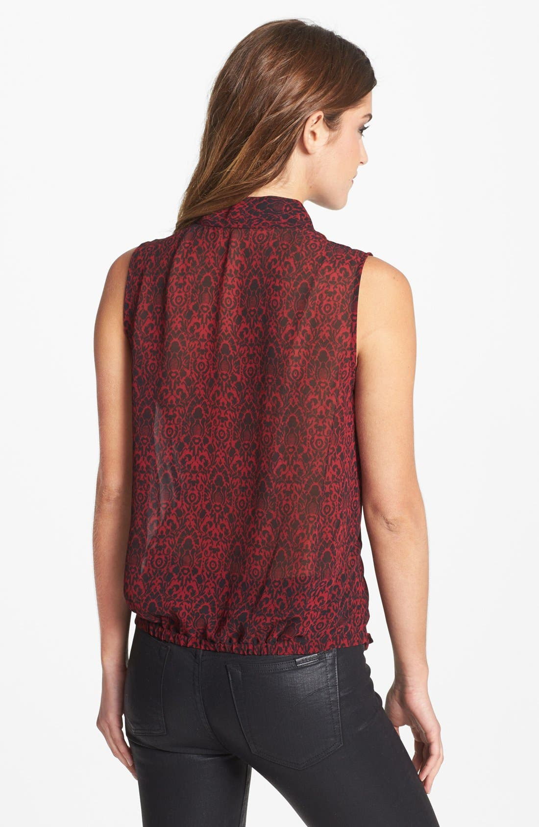 Alternate Image 2  - Vince Camuto Sleeveless Faux Wrap Print Blouse (Online Only)