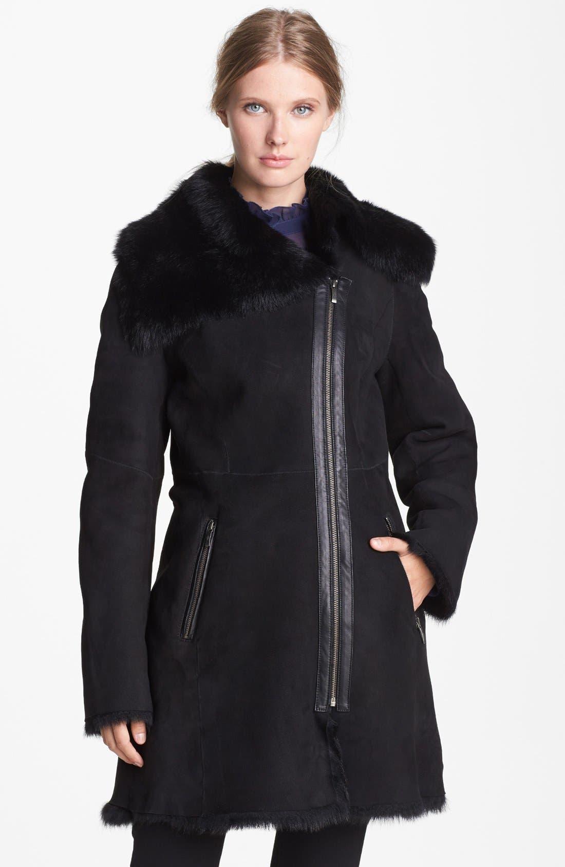 Main Image - Cole Haan Asymmetrical Zip Genuine Toscana Shearling Coat