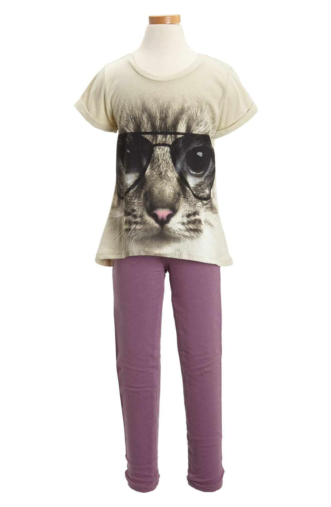 Alternate Image 2  - Miken Clothing 'Kitty' High/Low Tee (Little Girls)