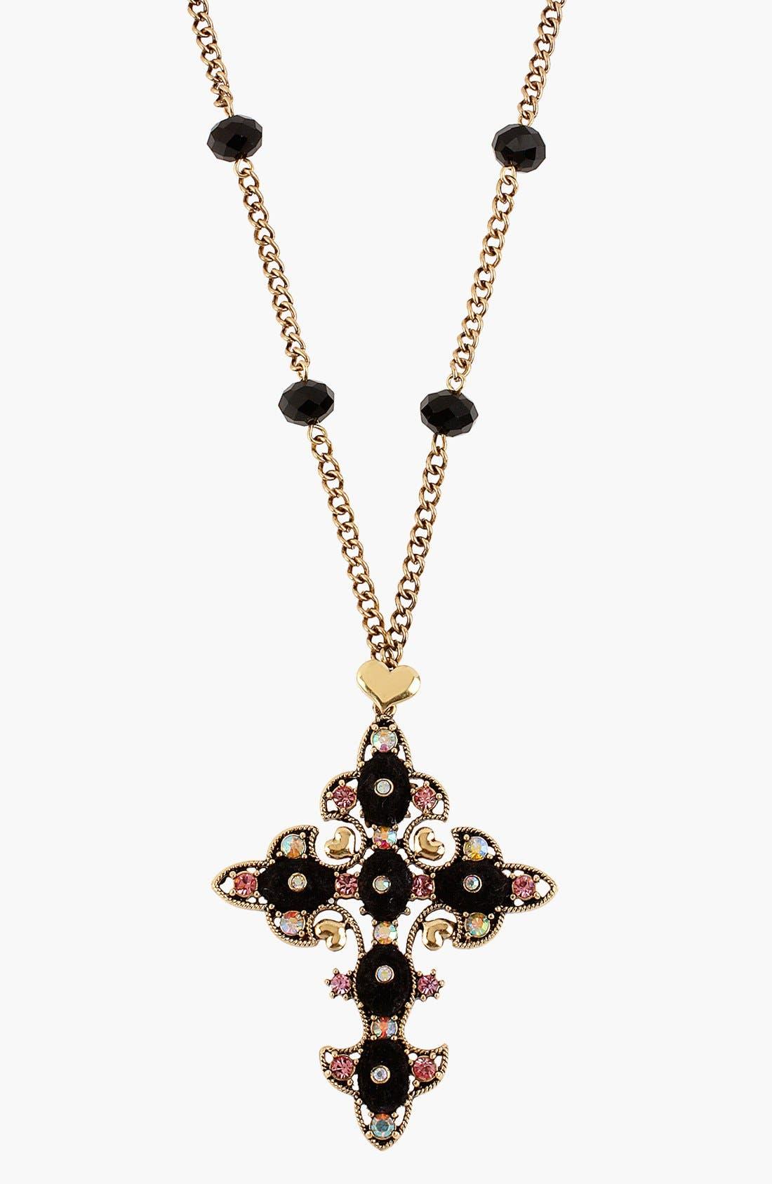 Alternate Image 1 Selected - Betsey Johnson 'Angel & Devil' Cross Necklace