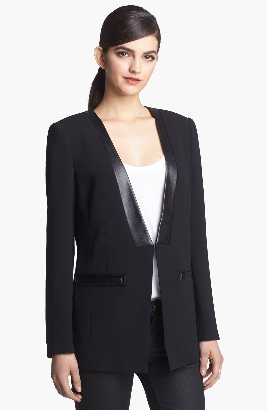 Alternate Image 1 Selected - Robbi & Nikki Faux Leather Trim Tuxedo Blazer