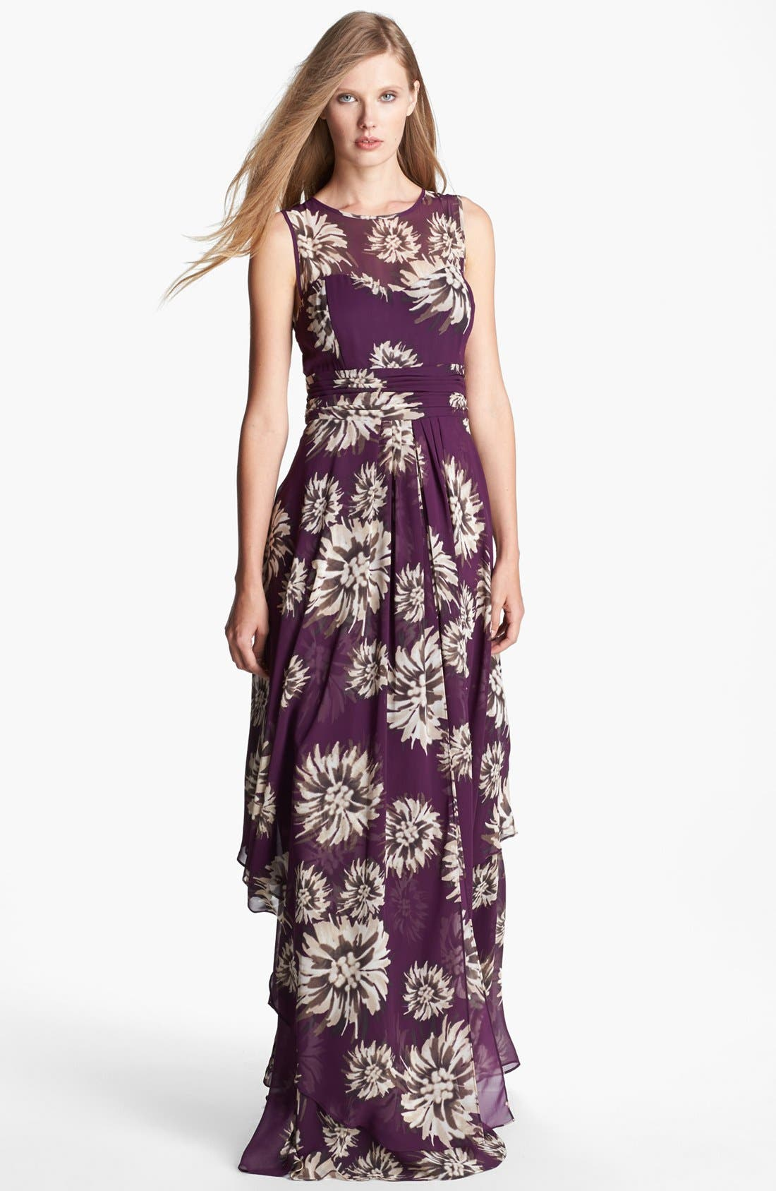 Alternate Image 1 Selected - Eliza J Floral Print Chiffon Gown