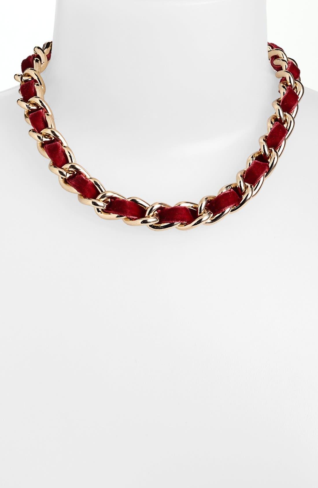 Main Image - Nordstrom Velvet Woven Chain Collar Necklace