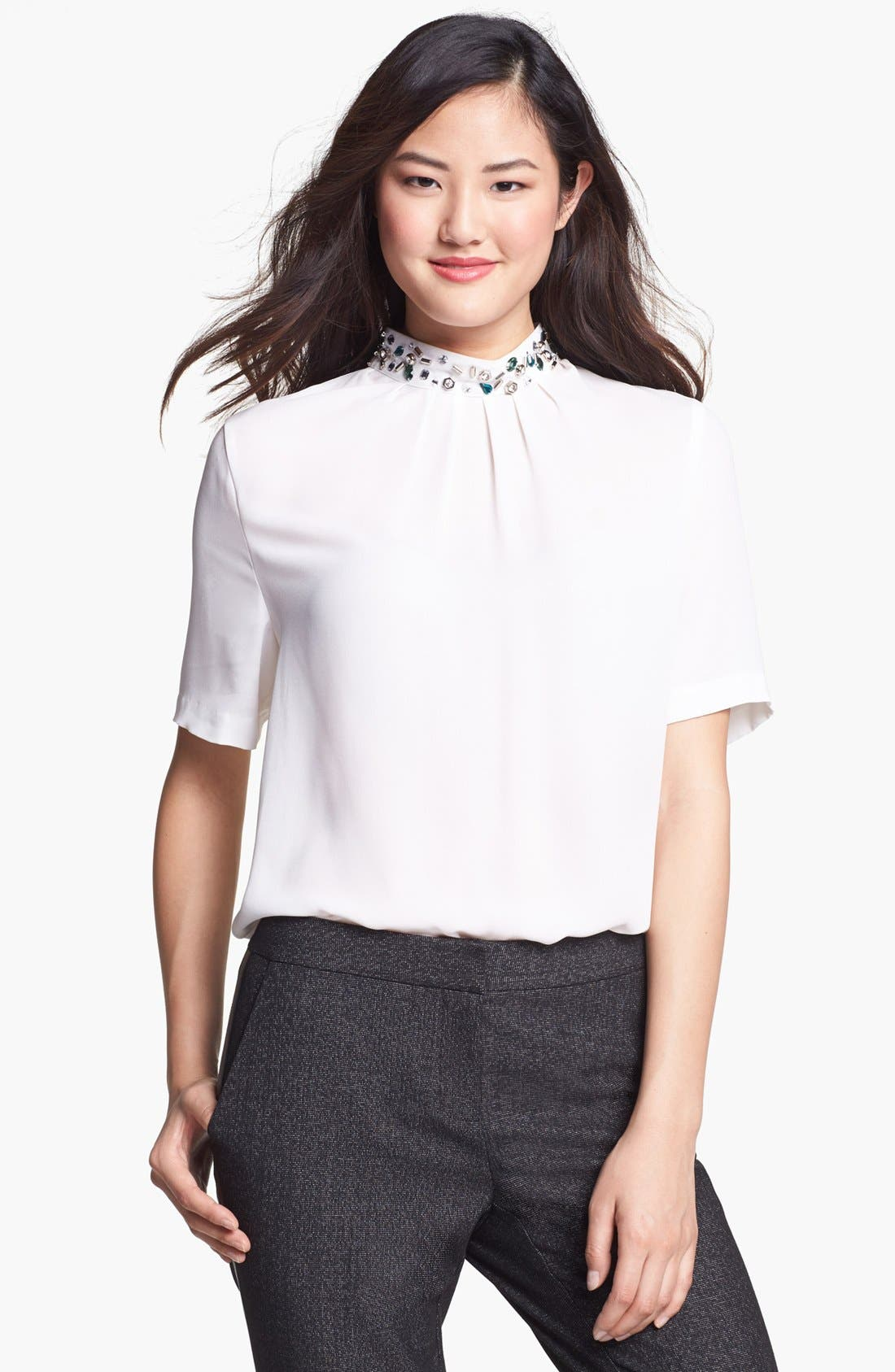 Main Image - Vince Camuto Embellished Collar Pleated Blouse