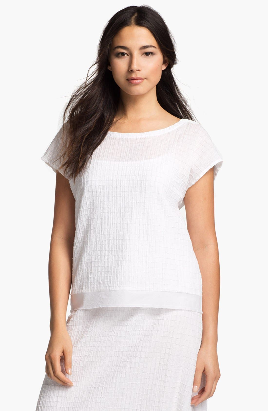 Main Image - Eileen Fisher Ballet Neck Cap Sleeve Blouse (Petite)