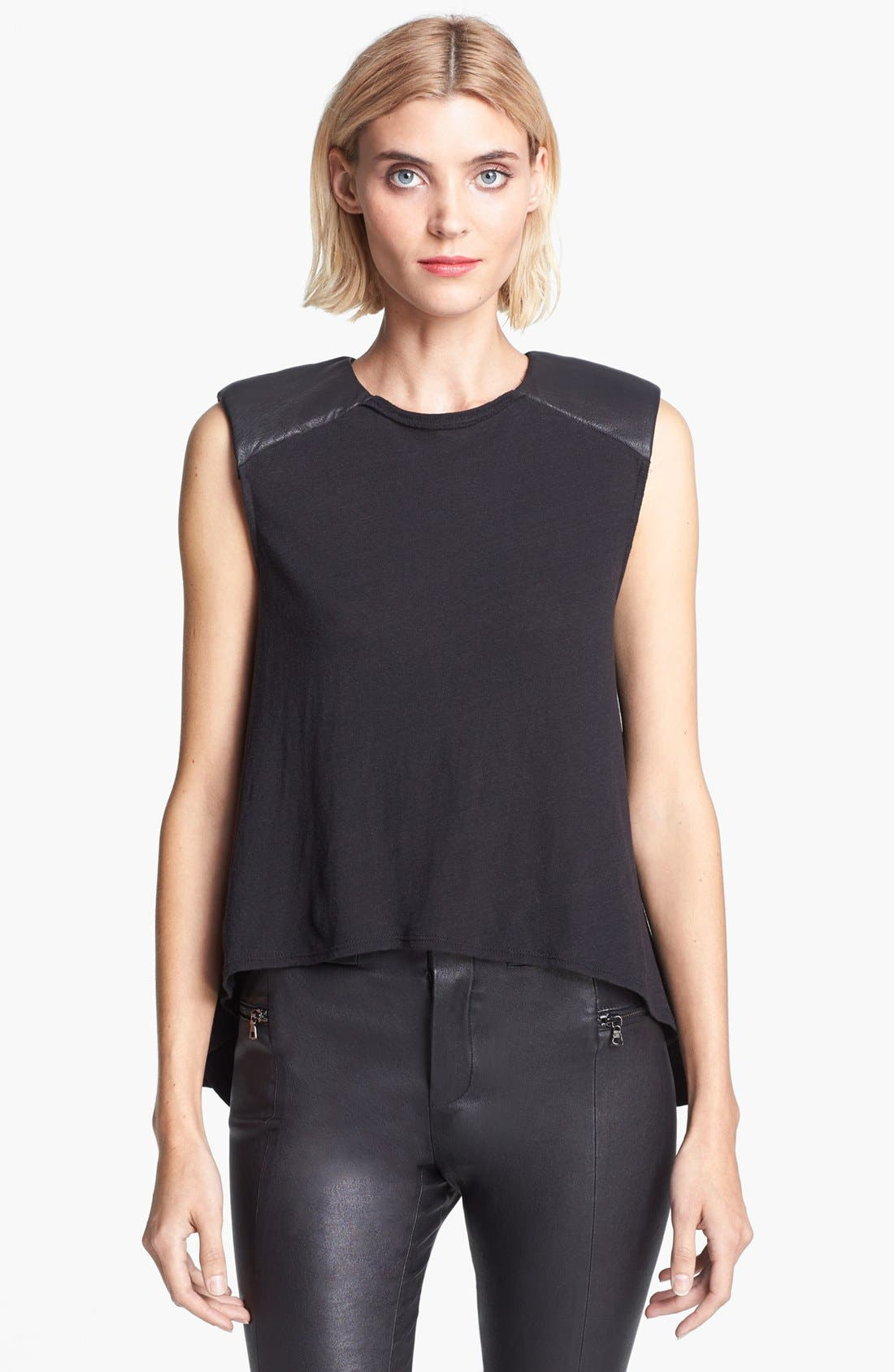 Main Image - Alice + Olivia Leather Shoulder Muscle Tee