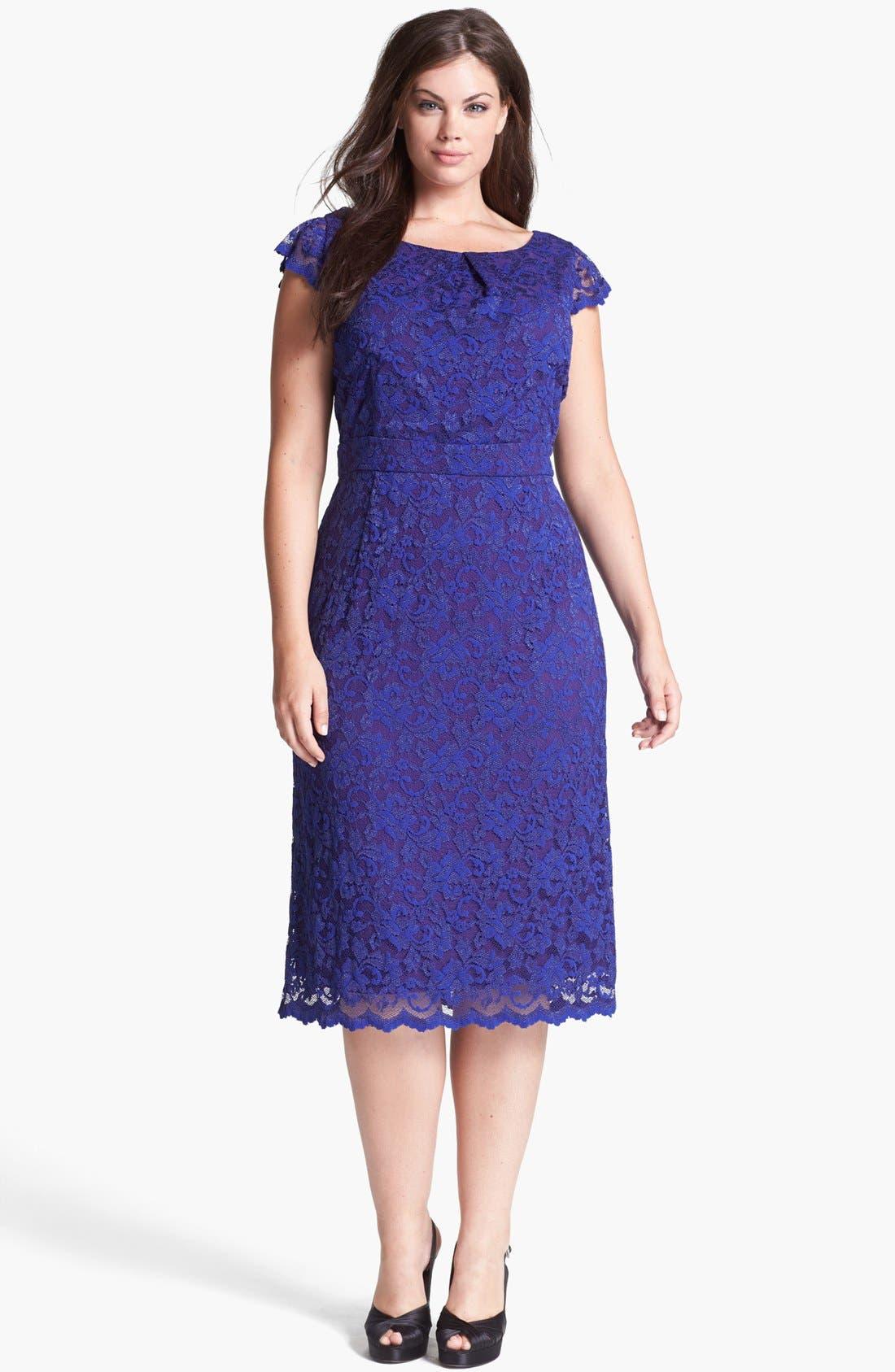 Main Image - ABS by Allen Schwartz Lace Pencil Dress (Plus Size)