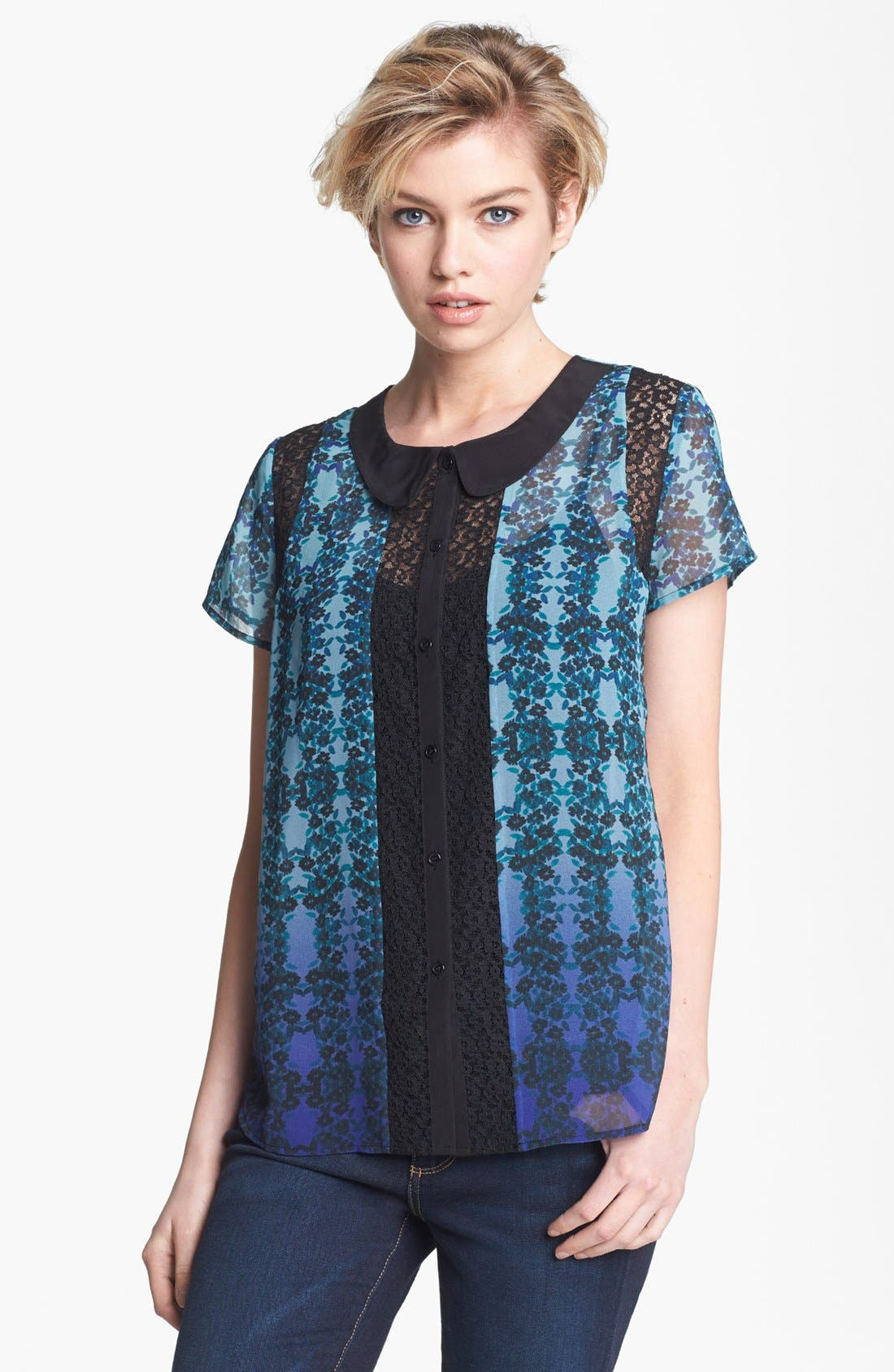 Alternate Image 1 Selected - Hinge® Print Chiffon & Lace Blouse