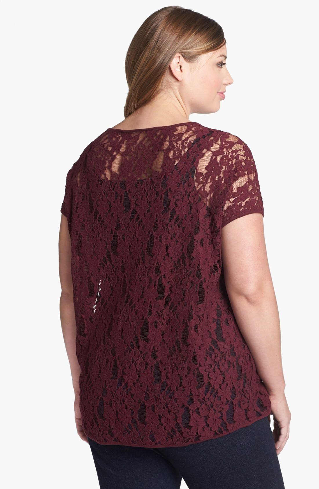 Alternate Image 2  - Two by Vince Camuto Lace Back Top (Plus Size)