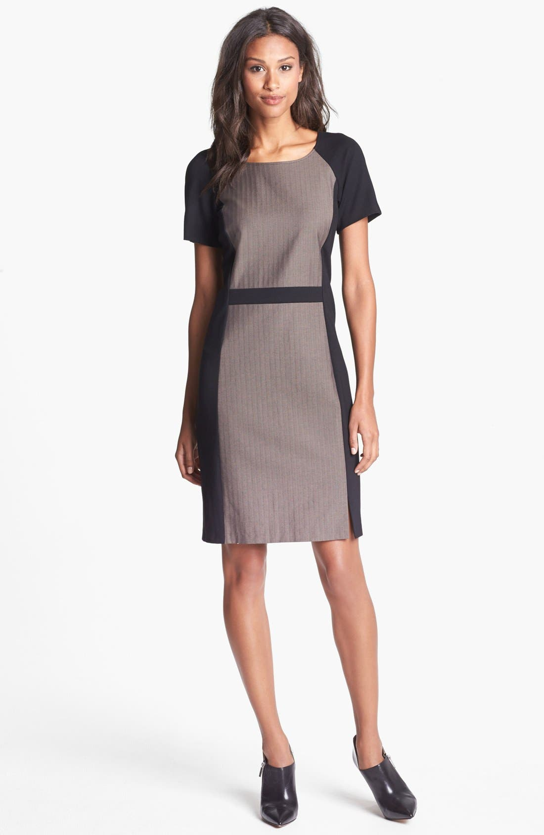 Alternate Image 1 Selected - DKNYC Ponte Inset Herringbone Sheath Dress
