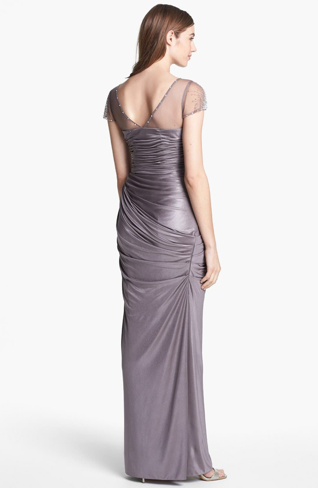 Alternate Image 2  - Adrianna Papell Embellished Metallic Jersey Gown