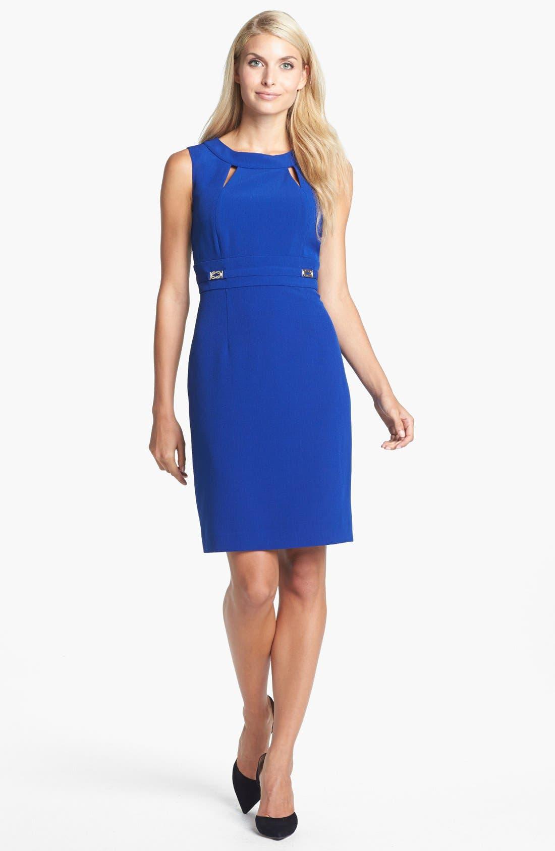 Alternate Image 1 Selected - Tahari Cutout Detail Crepe Sheath Dress